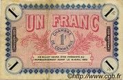 1 franc - Chambre de Commerce d'Auxerre [89] – revers