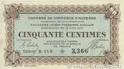 50 centimes - Chambre de Commerce d'Auxerre [89] -  avers