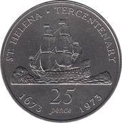 25 Pence - Elizabeth II (Tricentenaire de Saint-Hélène) – revers