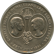 25 Pence - Elizabeth II (Mariage de Charles et Diana) – revers