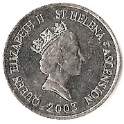 10 pence Elizabeth II (3e effigie, dauphins) – avers