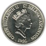 5 pence Elizabeth II (3e effigie, rainpiper) – avers