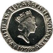 20 pence Elizabeth II (3e effigie) – avers