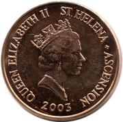 2 pence Elizabeth II (3e effigie, acier plaqué cuivre) – avers