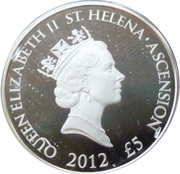 5 Pounds - Elizabeth II (Globe et drapeaux) – avers