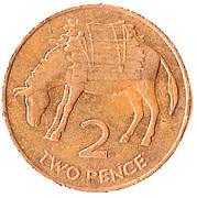 2 pence Elizabeth II (3e effigie, bronze) – revers