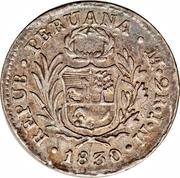 2 reales (contremarque zig-zag: Pérou) – revers