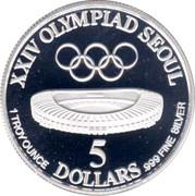 5 Dollars (Jeux Olympiques Séoul 1988) – revers