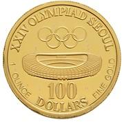 100 dollars (Coupe de l'America/Jeux olympiques de Séoul 1988) – revers