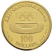 100 dollars (Jeux olympiques Séoul 1988) – revers