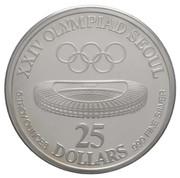 25 dollars (Jeux olympiques Séoul 1988) – revers