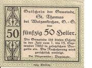 50 Heller (St. Thomas bei Waizenkirchen) -  avers