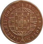 """40 Réis - Pedro V  (Contremarque """"petite couronne"""") – revers"""