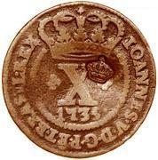 """X Réis - Pedro V -(Contremarque """"Petite couronne"""" sur X reis, Portugal et Brésil) – avers"""
