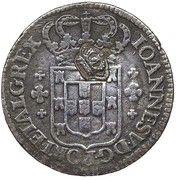 """6 Vinténs - Pedro V (Contremarque """"Petite couronne"""" sur 6 vinténs, Portugal) – avers"""
