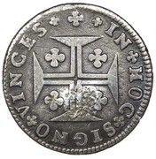"""6 Vinténs - Pedro V (Contremarque """"Petite couronne"""" sur 6 vinténs, Portugal) – revers"""