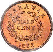 ½ cent - Charles V. Brooke Rajah – revers