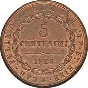 5 centesimi - Charles-Félix – revers
