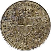 25 centesimi - Charles Félix – revers