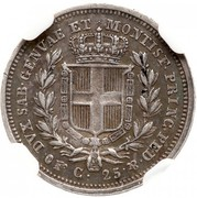 25 centesimi - Charles-Albert – revers