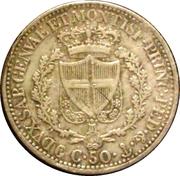 50 centesimi - Charles Félix – revers