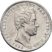 1 lira - Charles-Albert – avers
