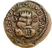 3 Cagliarese, 6 Denari - Carlo II – avers