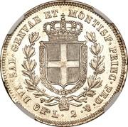 2 lire - Charles-Albert – revers