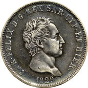 5 lire Charles-Félix – avers