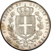 5 lire - Charles Albert – revers
