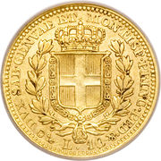 10 lire - Charles-Albert – revers