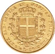 20 lire - Charles-Albert – revers