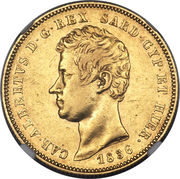 50 lire - Charles-Albert – avers