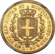 50 lire - Charles-Albert – revers