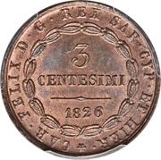 3 centesimi - Charles-Félix – avers