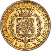 80 lire - Charles-Félix – revers