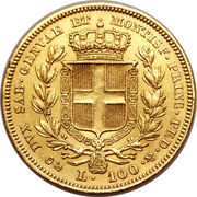 100 lire - Charles-Albert – revers