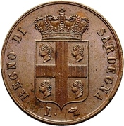 3 centesimi - Charles-Albert – avers