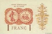 1 franc Mines Domaniales de la Sarre (type 1920) – revers