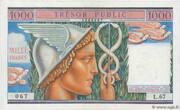1000 francs Trésor public (type 1955) – avers
