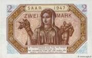 2 mark Sarre (type 1947) – revers