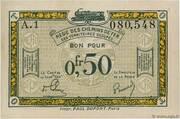 50 centimes - Régie des Chemin de Fer en Territoires Occupés – avers