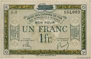 1 franc - Régie des Chemin de Fer en Territoires Occupés – avers