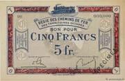 5 francs - Régie des Chemin de Fer en Territoires Occupés – avers