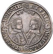Saxe-Altenburg Thaler 1606 Dav. 7361 4 brothers – revers