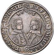 Saxe-Altenburg Thaler 1606 Dav. 7361 4 brothers – revers