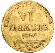 6 kreuzer Franz Friedrich Anton (Frappe essai en or) – revers