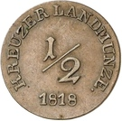 ½ kreuzer - Louise Eleanore (Princesse régente) – revers