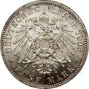 5 Mark - Wilhelm Ernst (mariage du duc) – revers