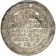 1 thaler Johan Adolf I (Mort) – revers